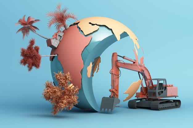 Wereld wordt vernietigd door de hand van mensen. 3d-weergave