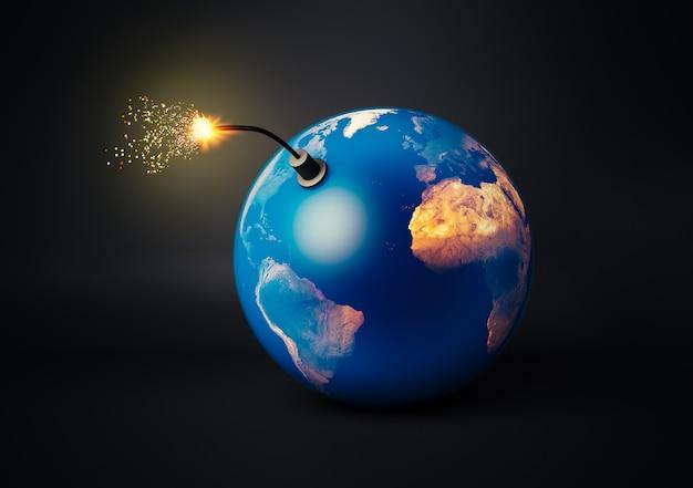 Wereldbal als een bom die op het punt staat te ontploffen