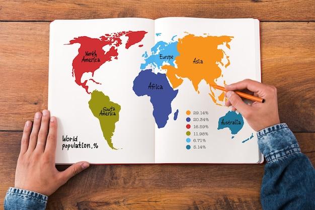 Wereldbevolking infographic set. bovenaanzicht close-up beeld van man die handen vasthoudt op zijn notitieboekje met kleurrijke kaart erop terwijl hij aan het houten bureau zit