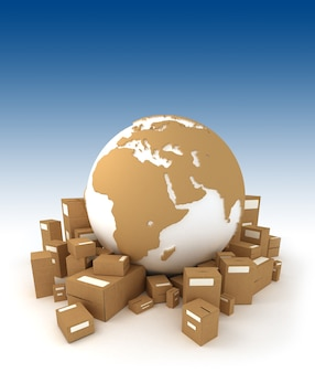Wereldbol in wit en kartonnen structuur omgeven door pakketten en gericht op afrika
