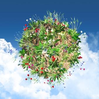Wereldbol met wilde bloemen