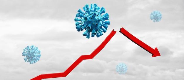 Wereldeconomie en corona virus concept. de impact van het coronavirus op de beurs.