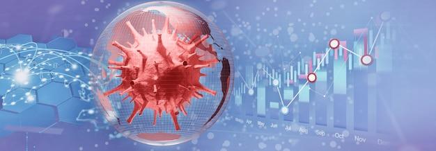 Wereldeconomie en corona virus concept. de impact van het coronavirus op de wereld. 3d illustratie