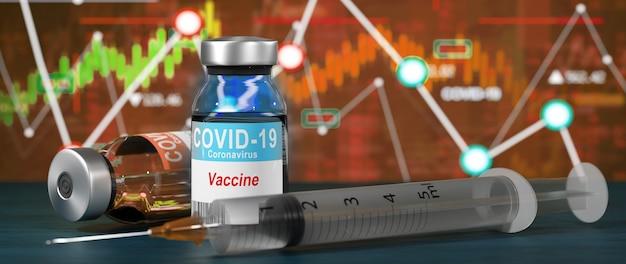 Wereldeconomie en corona virus vaccin concept. de impact van het coronavirus op de beurs.