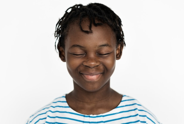 Wereldgezicht - congolese jongen op een witte achtergrond
