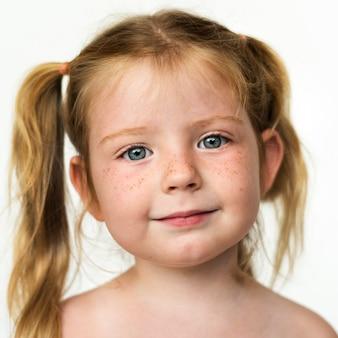 Wereldgezicht-frans meisje op een witte achtergrond
