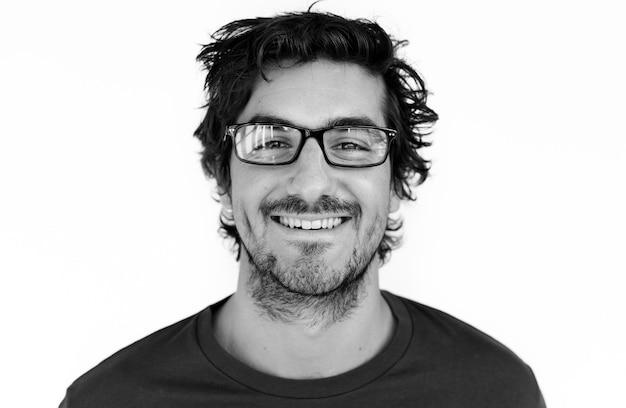 Wereldgezicht - spaanse man op een witte achtergrond