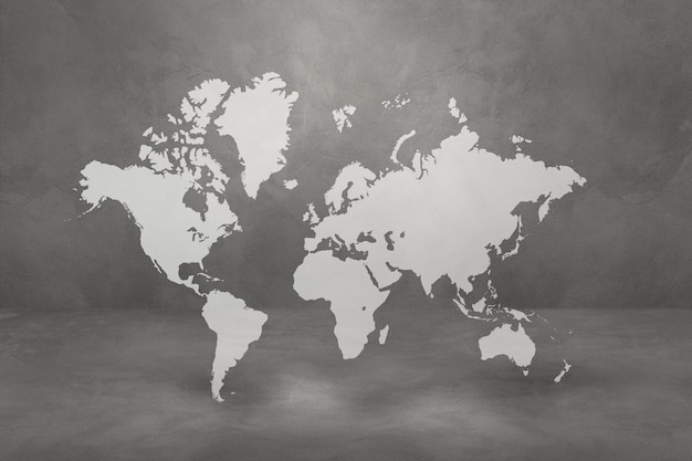 Wereldkaart geïsoleerd op betonnen muur achtergrond. 3d illustratie