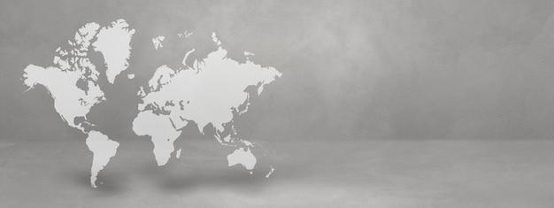 Wereldkaart geïsoleerd op betonnen muur achtergrond. 3d illustratie.