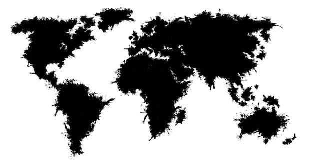 Wereldkaart geïsoleerd op een witte achtergrond.
