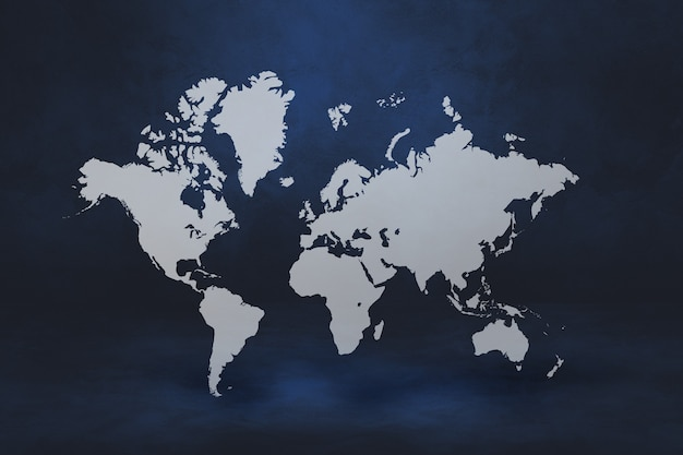 Wereldkaart geïsoleerd op zwarte muur