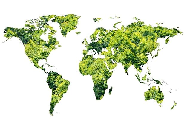 Wereldkaart gemaakt van groen bos op witte achtergrond