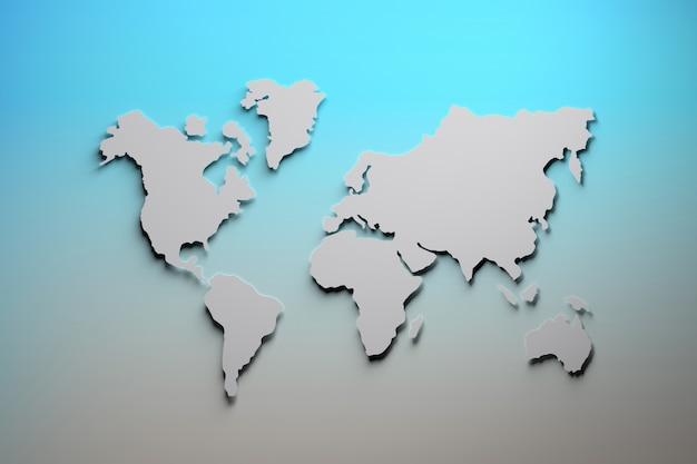 Wereldkaart in blauw en grijs