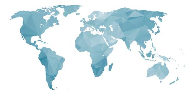 Wereldkaart met abstracte kleurrijke driehoekige textuur