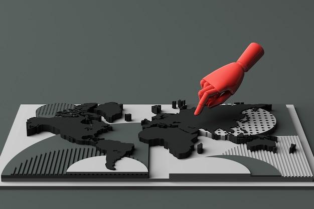 Wereldkaart met menselijke hand concept abstracte compositie van geometrische vormen platforms in zwarte toon. 3d-weergave
