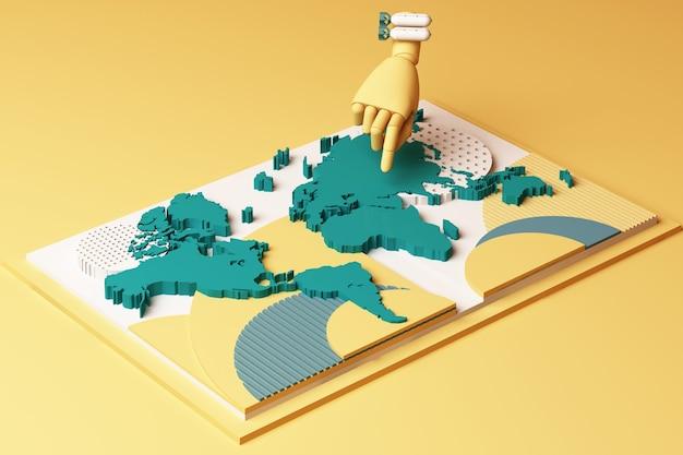 Wereldkaart met menselijke hand en bom concept abstracte compositie van geometrische vormen platforms in gele en groene toon. 3d-weergave
