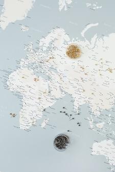 Wereldkaart met pinnen