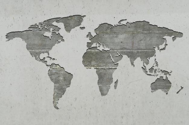 Wereldkaart op gewapend beton