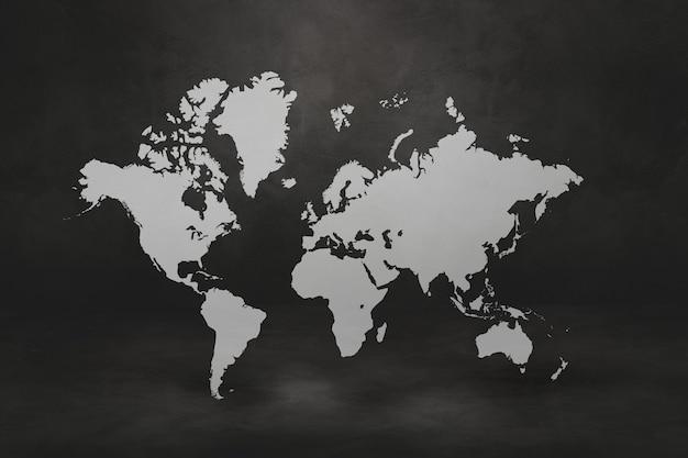 Wereldkaart op zwarte betonnen muur achtergrond. 3d illustratie