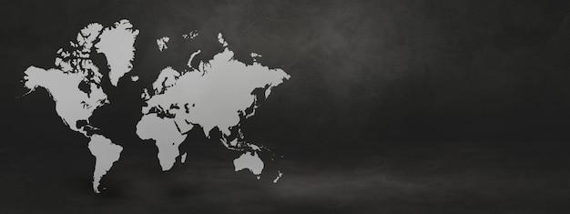 Wereldkaart op zwarte betonnen muur achtergrond. 3d illustratie.