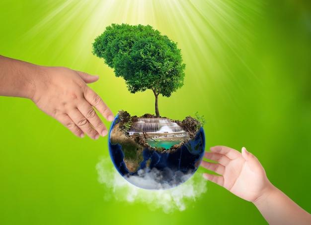 Wereldmilieudag concept, dag van de aarde, aarde en boom op handen Premium Foto