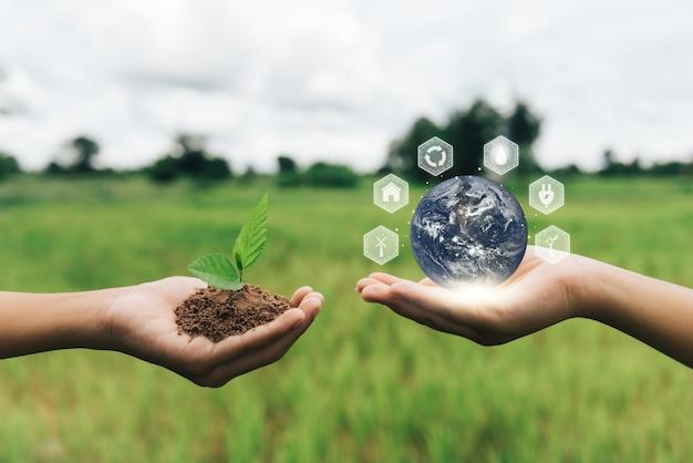 Wereldmilieudag hand met earth globe in handen elementen van deze afbeelding geleverd door nasa