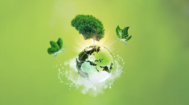 Wereldmilieudagconcept, aardedag, aarde en boom met vlinder op wolken