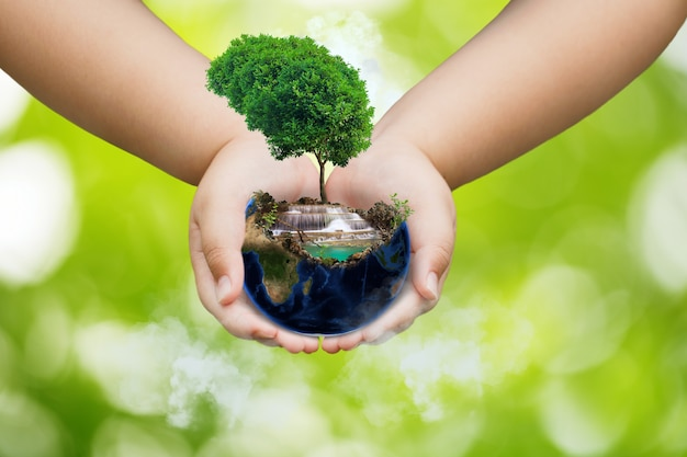 Wereldmilieudagconcept, aardedag, aarde en boom op handen