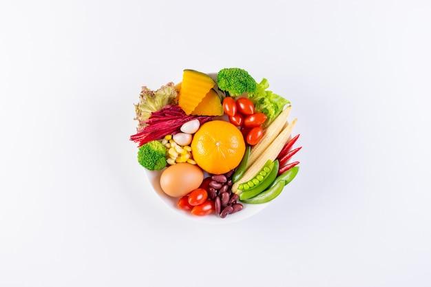 Wereldvoedseldag, vegetarisch dagconcept. ontbijtmaaltijd in kom op witte lijstachtergrond.