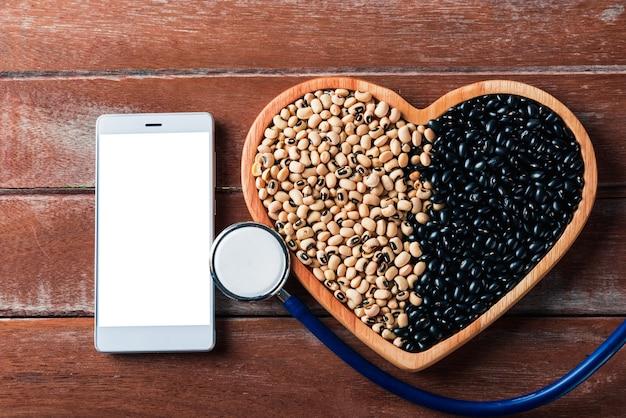 Wereldvoedseldag, zwarte bonen en sojabonenzaden of wit