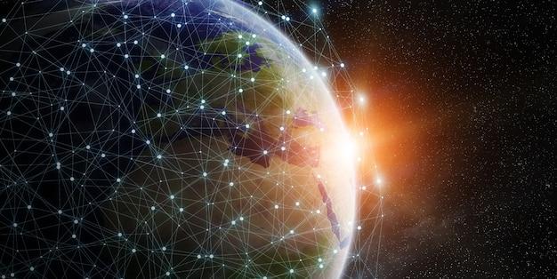 Wereldwijd netwerk en gegevensuitwisseling wereldwijd