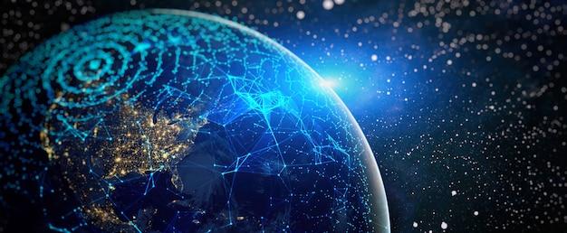 Wereldwijd netwerk en telecommunicatie op aarde cryptocurrency
