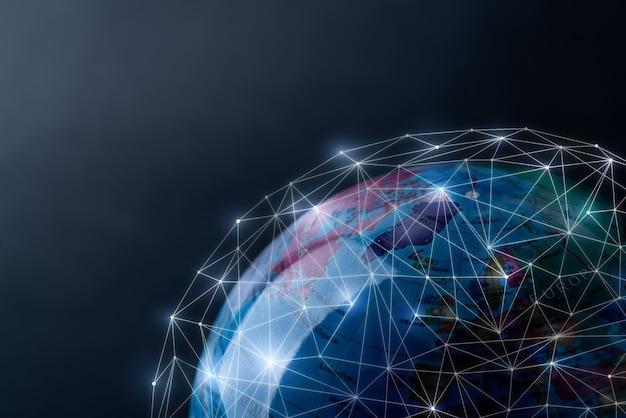 Wereldwijd netwerk voor technologie en toekomstconcept
