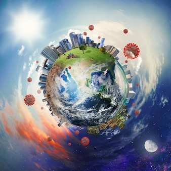 Wereldwijd probleem van coronavirus covid19. aarde geleverd door nasa