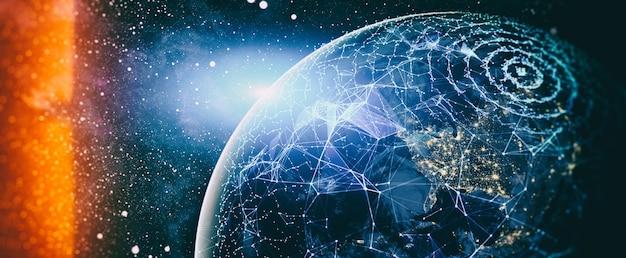 Wereldwijd wereldnetwerk en telecommunicatie op aarde cryptocurrency en blockchain
