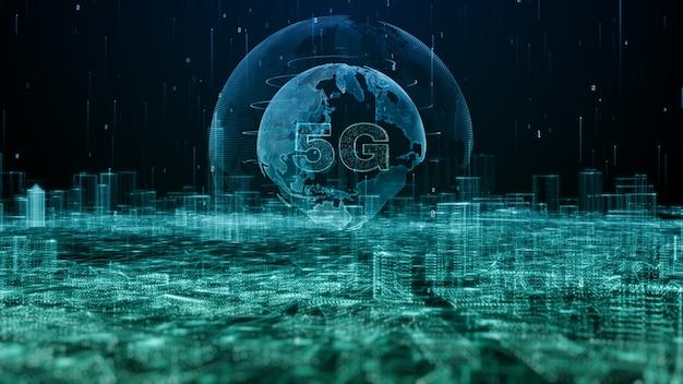 Wereldwijde 5g snelle internetverbinding en data-analyse verwerken big data