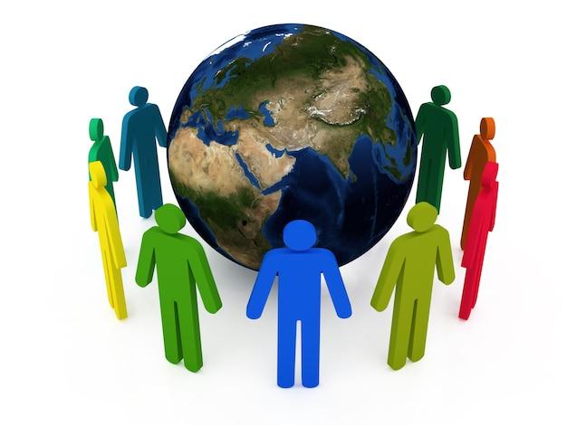 Wereldwijde communicatie geïsoleerd op wit