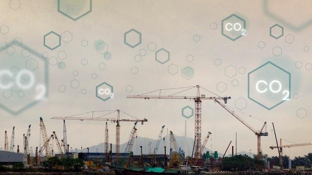 Wereldwijde koolstofemissie met bouwachtergrond