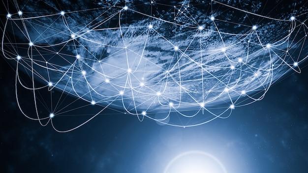 Wereldwijde moderne creatieve communicatie en internetnetwerkkaart verbinden in slimme stad