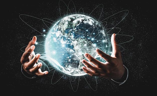 Wereldwijde netwerkverbinding die de aarde bedekt met een link van innovatieve perceptie innovative