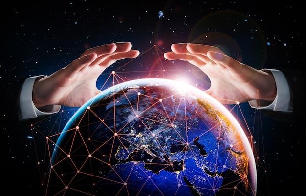 Wereldwijde netwerkverbinding over de aarde met een link van innovatieve perceptie