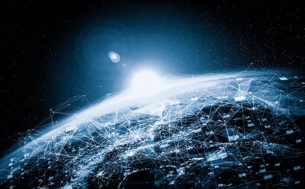 Wereldwijde netwerkverbinding over de aarde met lijnen van innovatieve perceptie