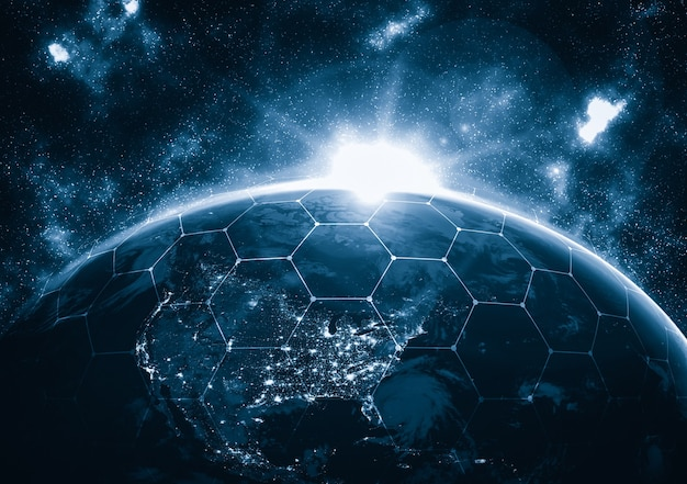 Wereldwijde netwerkverbinding over de hele aarde met lijnen van innovatieve perceptie