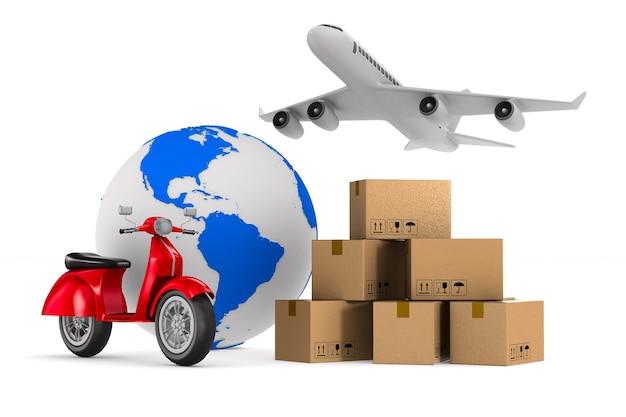 Wereldwijde transportgoederen. geïsoleerde 3d-weergave