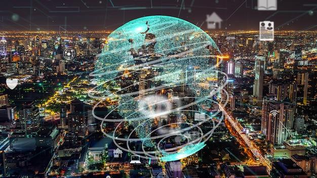 Wereldwijde verbinding en modernisering van het internetnetwerk in slimme stad