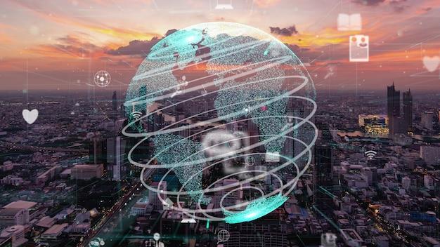 Wereldwijde verbinding en modernisering van internetnetwerk in slimme stad