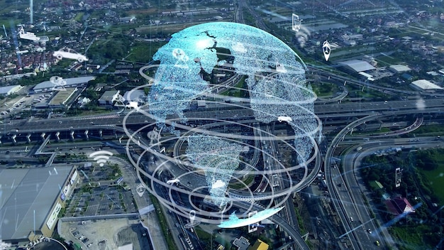 Wereldwijde verbinding en verkeersmodernisering in slimme stad