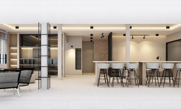 Werk- en rustruimten met boekenkast en vergadertafel in witte moderne kantoorweergave