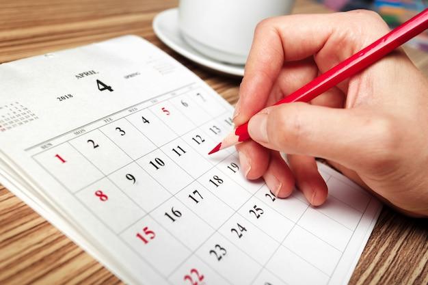 Werk ruimte. kalender