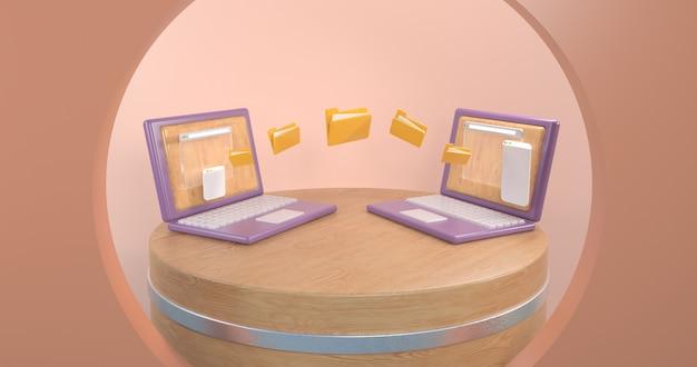 Werk vanuit huis concept 3d geometrische laptopcomputers. 3d-rendering,